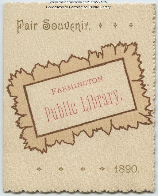 Fair souvenir, Farmington Public Library, 1890