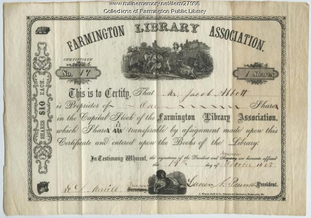 Library share certificate, Farmington Library Association, 1865