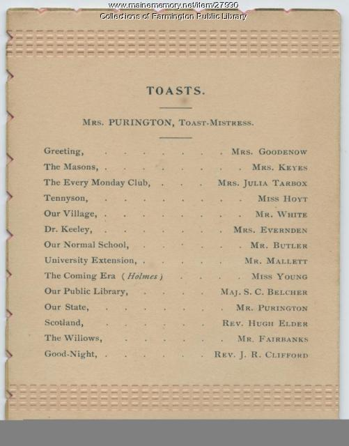 SEE NOTES Ladies' Third Annual Banquet. Farmington, Maine. 1893.  Back cover.