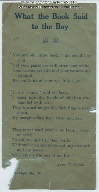 "SEE NOTES ""What the book said to the Boy"". Library bookmark."