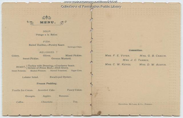 SEE NOTES Ladies Third Annual Banquet. Farmington, Maine. 1893. Menu.