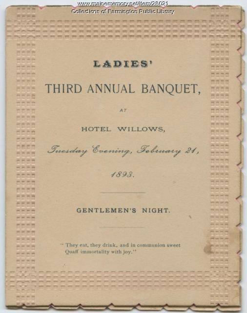 Ladies' Third Annual Banquet, Farmington, 1893