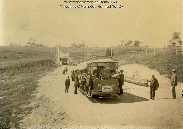 Bangor, Hampden and Winterport trolley, Hampden, ca. 1900