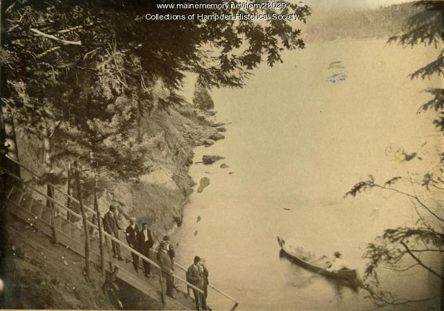 The entrance to Riverside Park from the Penobscot, Hampden, circa 1900