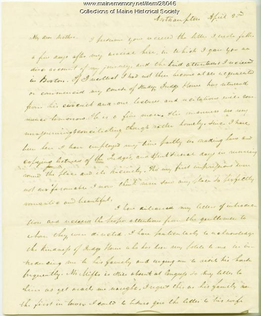 George W. Pierce to mother on law studies, ca. 1826