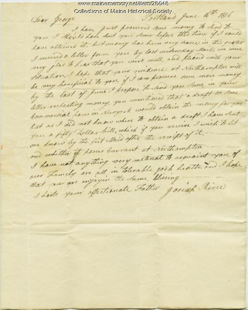 Josiah Pierce letter to son about money, 1826