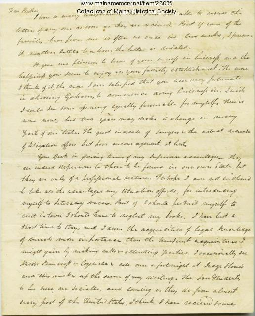 G. W. Pierce on law school, Northampton, 1826