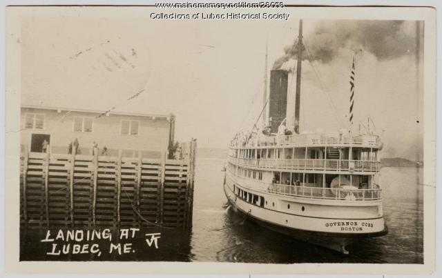 Steamship arrival in Lubec, ca. 1915