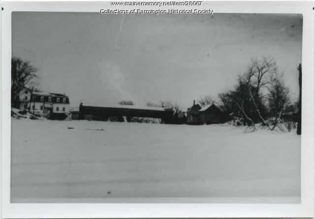 Franklin Mill, Farmington Falls Covered Bridge in winter, ca. 1900