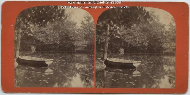 Stereoptic Card of Rollo Pond, Farmington, circa 1895