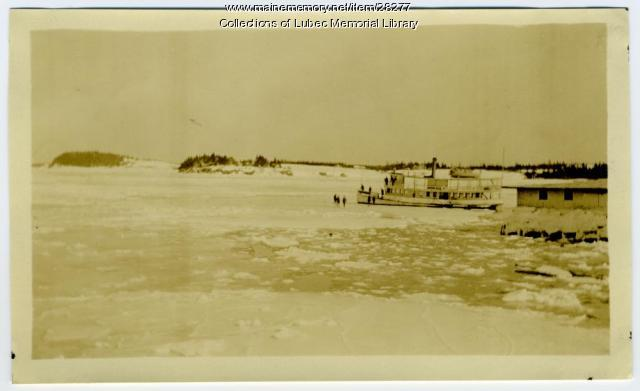 Ferry Surrounded by Ice, Lubec, ca. 1920