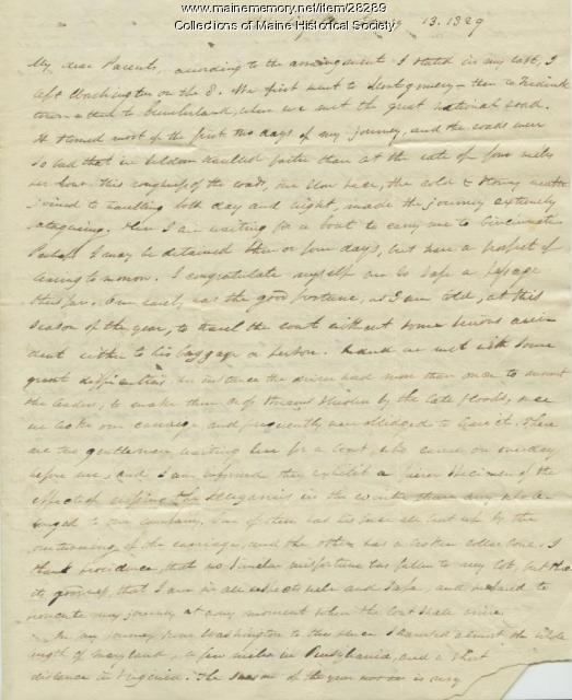 G.W. Pierce letter from Wheeling, Va., 1829