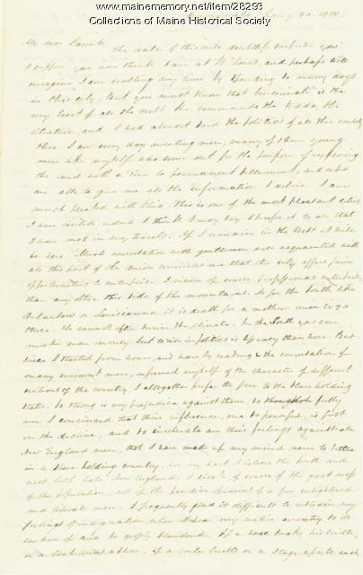 G.W. Pierce letter about Cincinnati, 1829