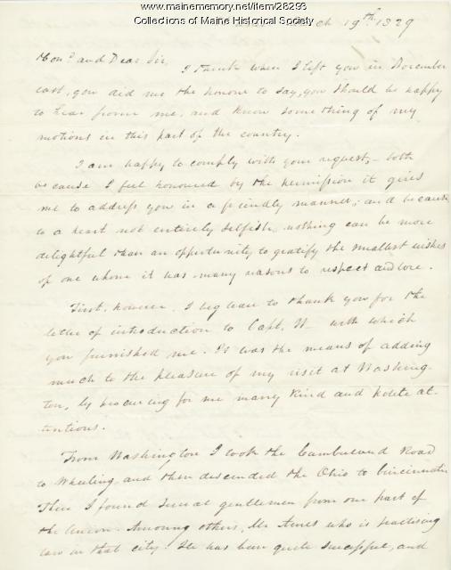 G.W. Pierce to Stephen Longfellow, 1829