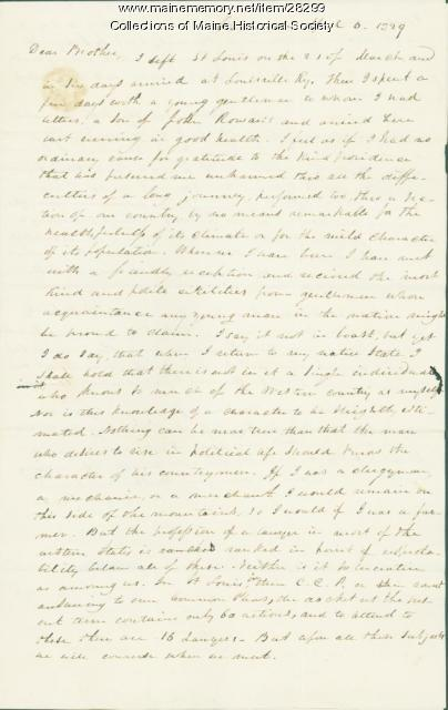 George W. Pierce to brother, Cincinnati, 1829