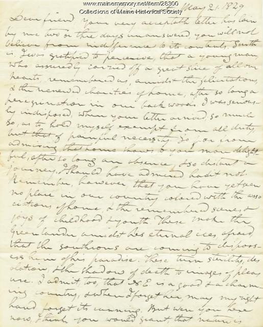 Timothy Flint letter to G.W. Pierce, 1829