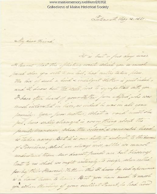 Jeremiah Mason letter of condolence, 1830