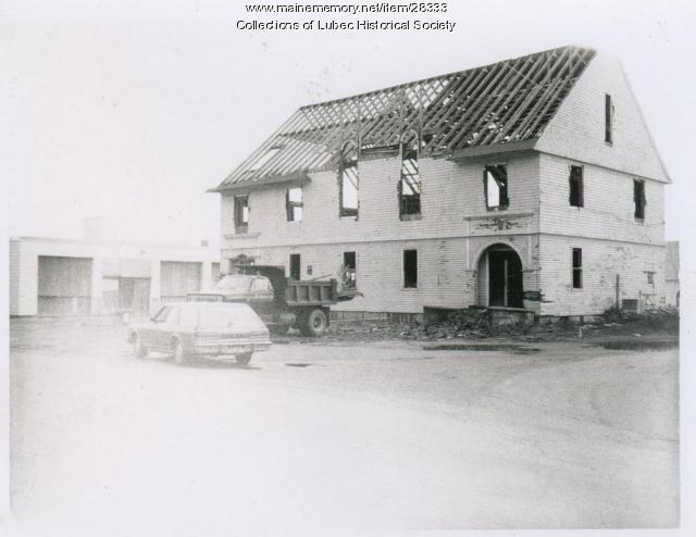 Columbian Hall demolition, Lubec, 1979