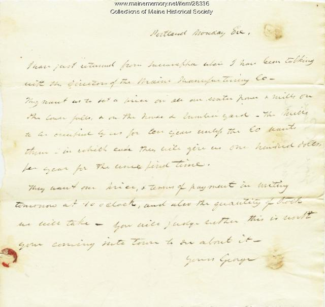 G.W. Pierce letter on selling assets, 1831