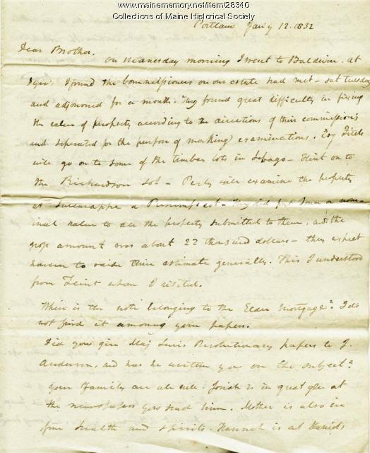 George Pierce on estate issues, 1832