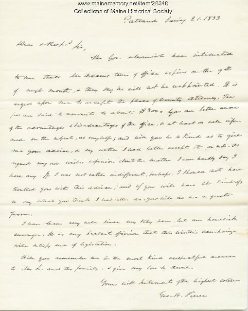 G.W. Pierce to Stephen Longfellow on County Attorney post, 1833