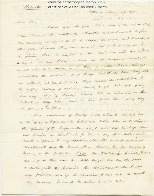 George W. Pierce letter on political appointments, Portland, 1835