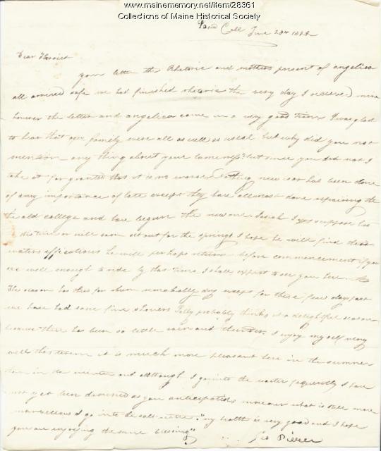 G.W. Pierce to sister Harriot, Brunswick, 1822