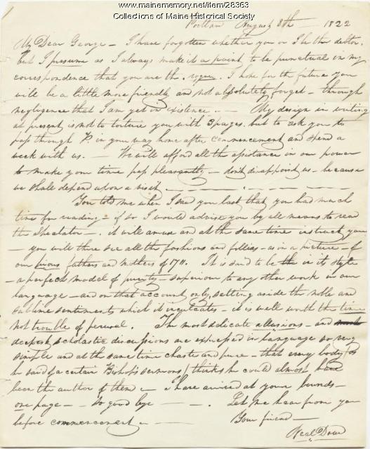 Neal Dow to G.W. Pierce, Portland, 1822