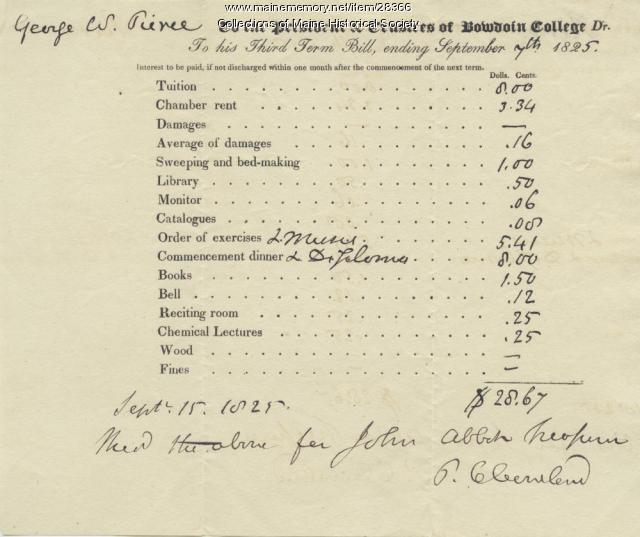 Bowdoin College bill, Brunswick, 1825