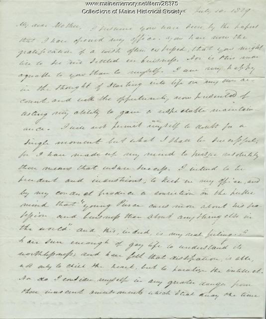 George W. Pierce on opening law office, Portland, 1829