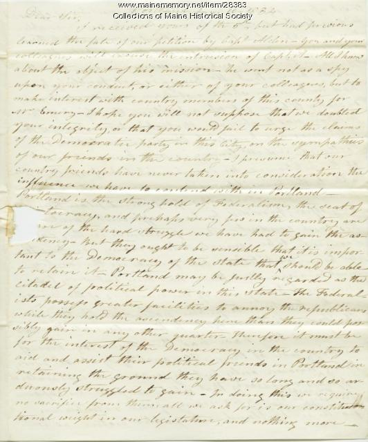Joel Chandler letter on Democratic party, Portland, 1834