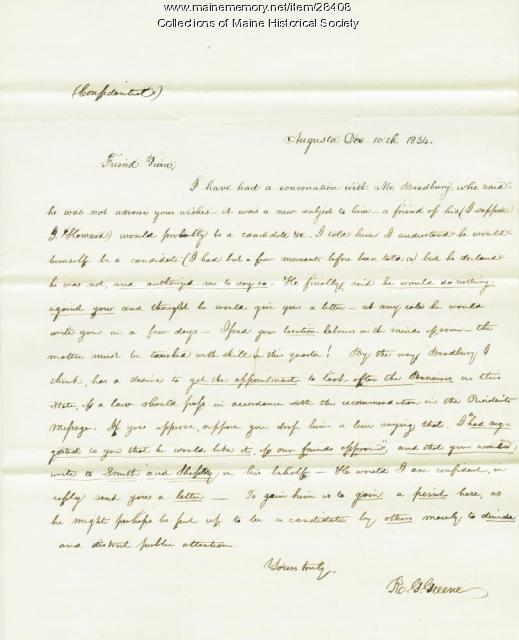 Roscoe Green letter on Pierce appointment, 1834