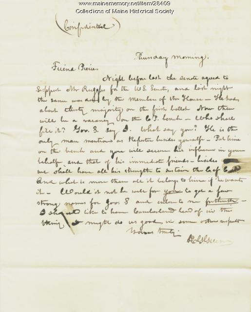 R.G. Greene letter on Court Reporter appointment, Augusta, 1835