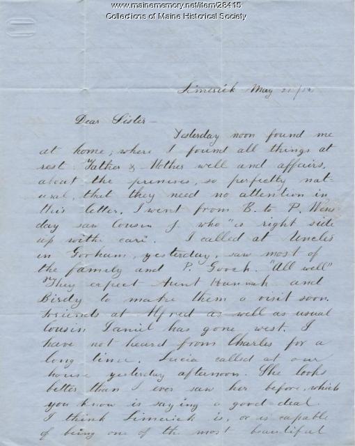 Samuel Freeman, Limerick, to Phebe Sanborn, 1851