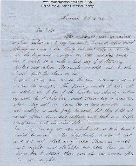 Samuel Freeman to Phebe Sanborn, Limerick, 1855