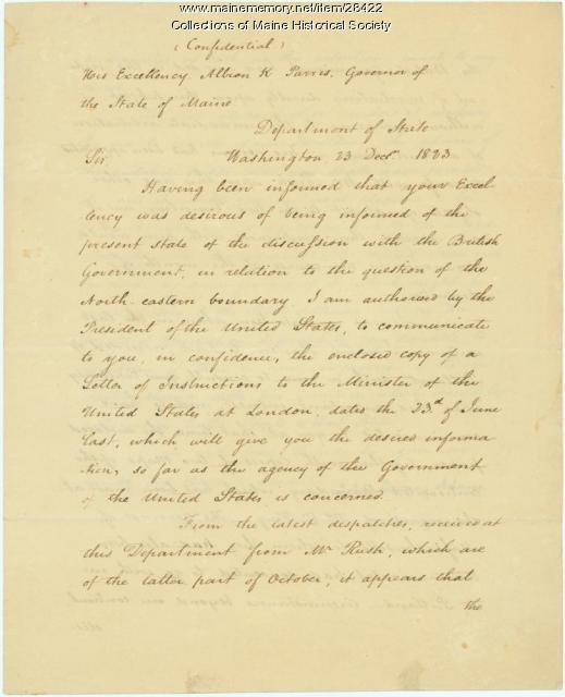 John Quincy Adams letter on Northeast Boundary, 1823