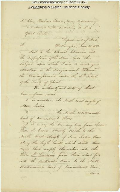 John Quincy Adams instruction on northeast boundary, 1823