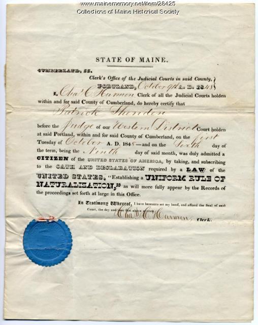 Patrick Sheriden naturalization certificate, Portland, 1848