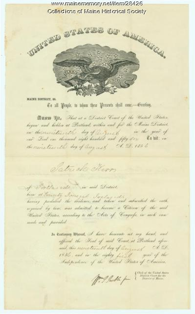 Patrick Kerr naturalization certificate, Portland, 1856