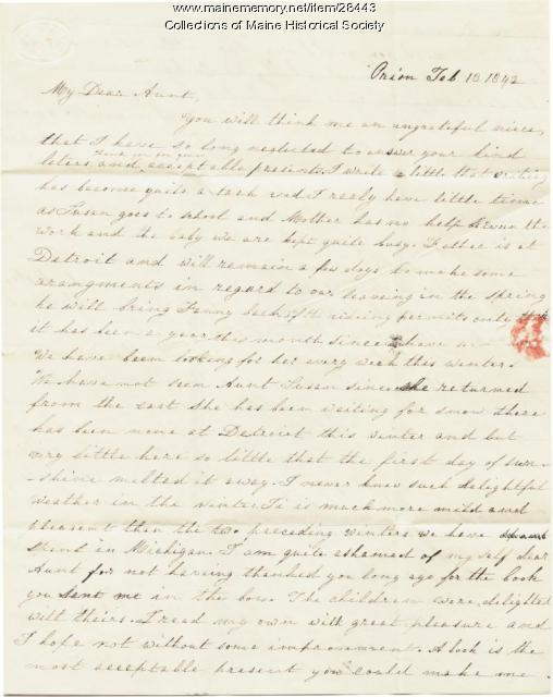 Harriet Pierce, Michigan, to Hannah Pierce, Baldwin, 1842