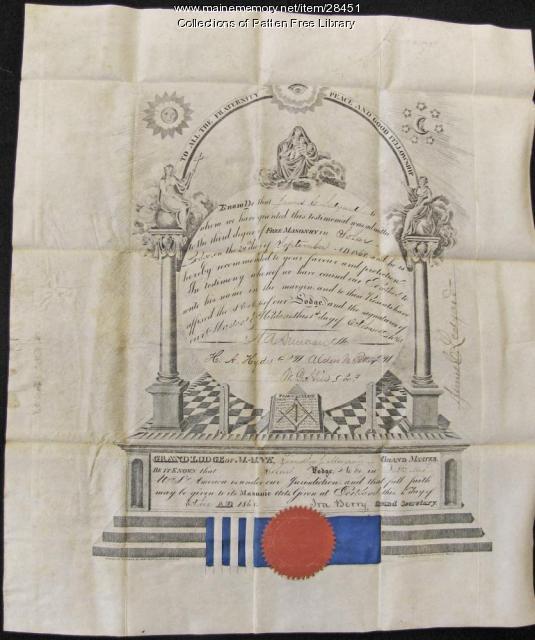 Certificate of Admittance to Masonic Lodge, Bath, 1868