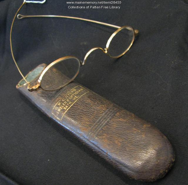Eyeglasses and case from C. W. Clifford, Bath, ca. 1885