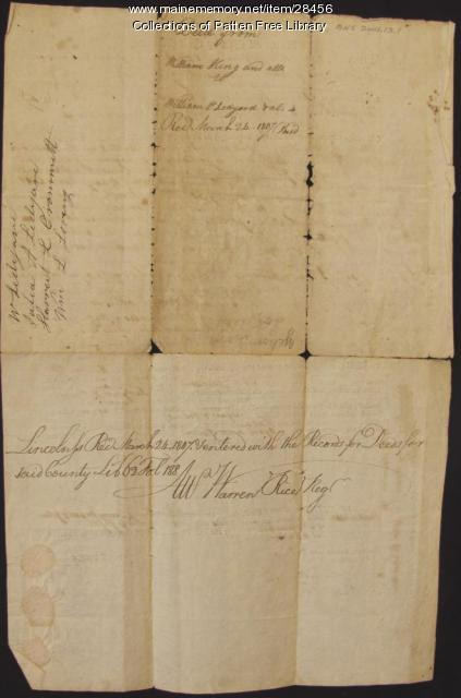1806 Deed: William King to Ledyard and Palmer