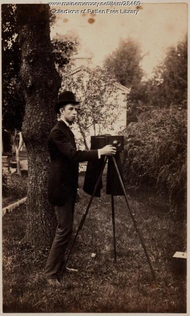 Fred Swanton with Camera, Bath, ca. 1887