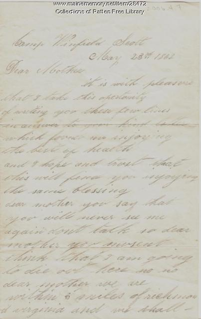 Civil War letter, George Pepper, 1862
