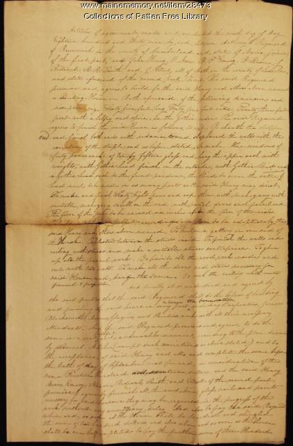 Universalist Church construction contract, Bath, 1839