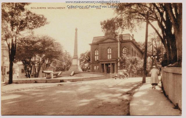 Civil War Soldiers' Monument postcard, Bath, ca. 1940