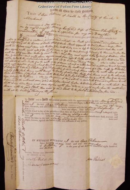 1809 Deed, Asa Palmer to Mercy Ledyard, Bath