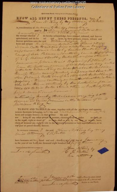 1853 Quitclaim Deed from Ann N. King to William Ledyard, Bath