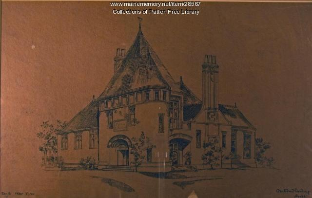 Architectural rendering of Patten Free Library, Bath, ca. 1888